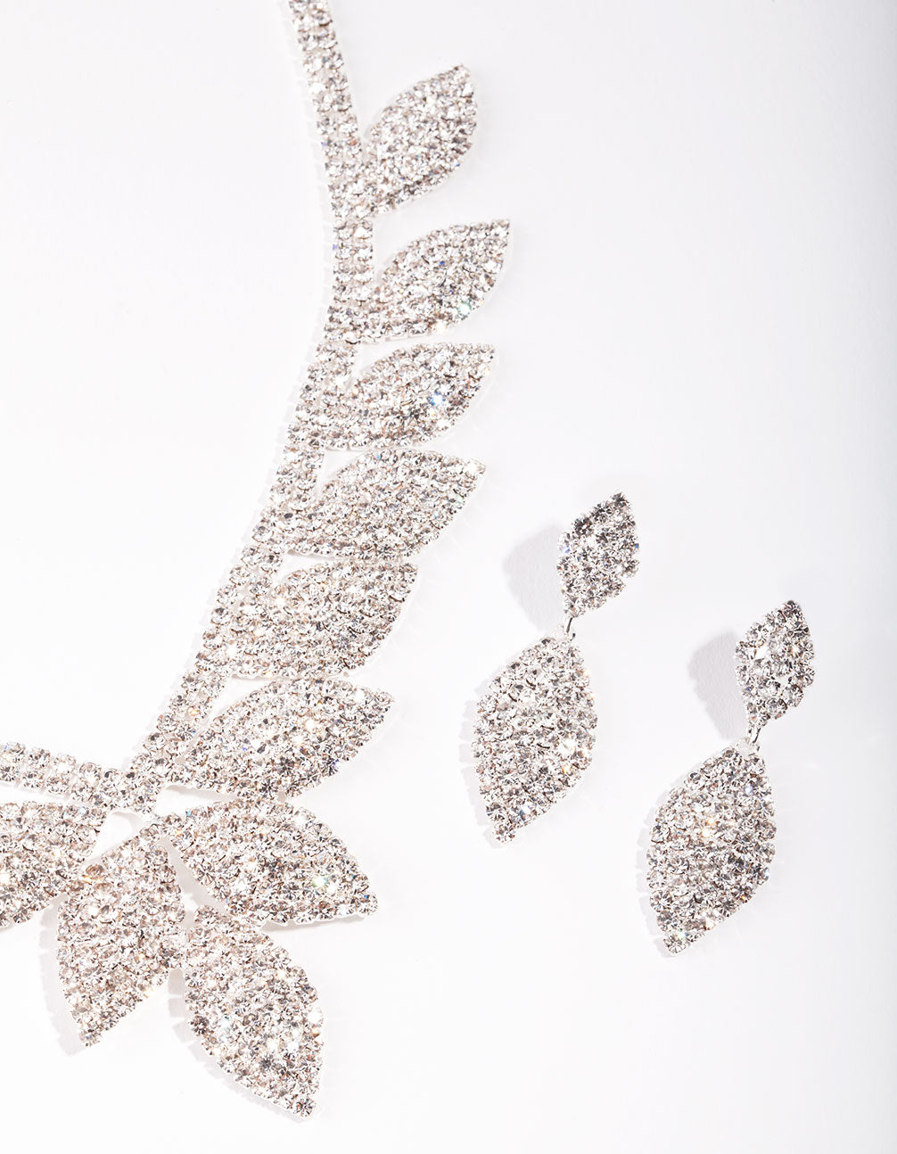 Silver Single Leaf Diamante Earring and Necklace Set