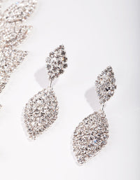 Silver Single Leaf Diamante Earrings and Necklace Set - link has visual effect only