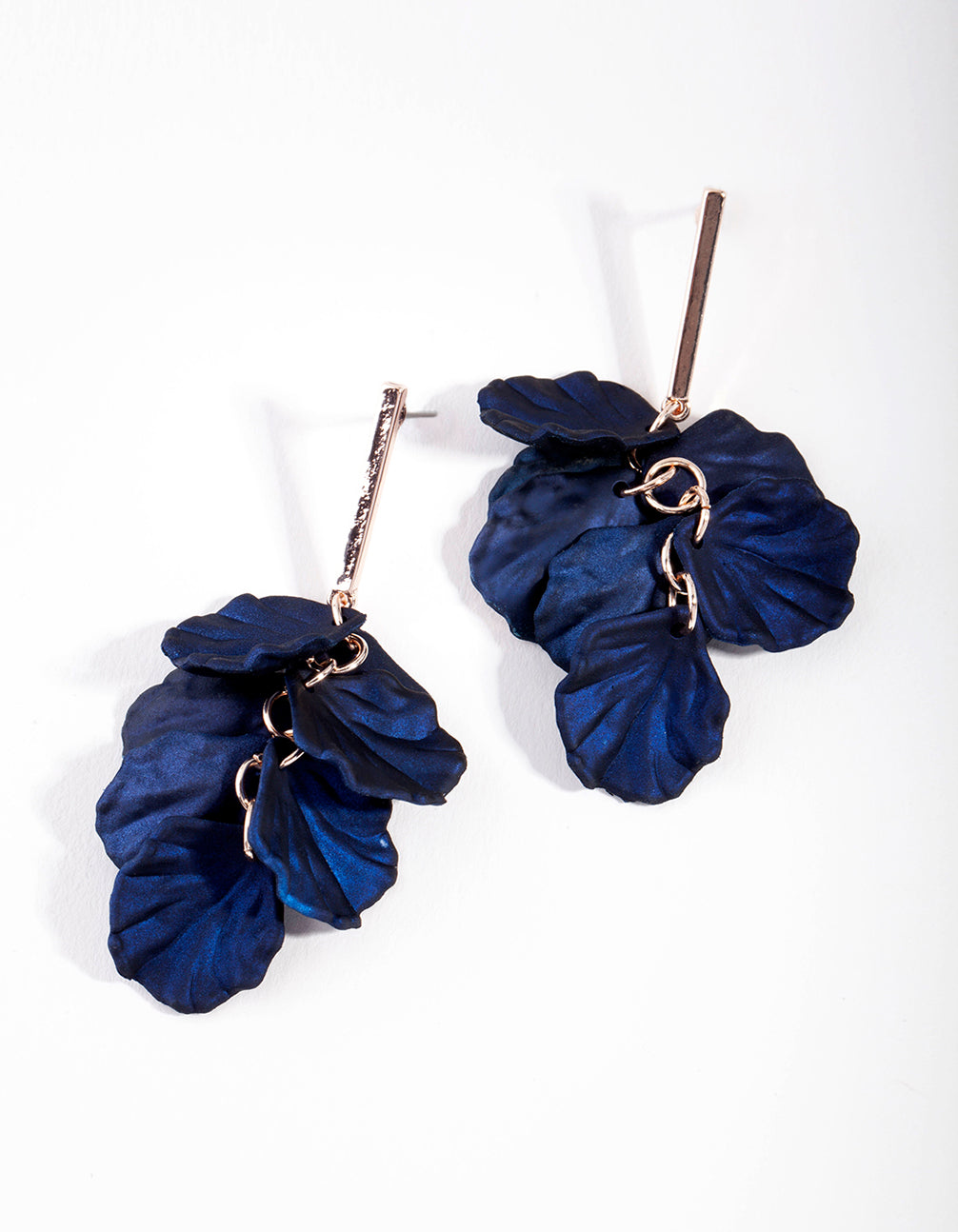 Rose Gold Pearlised Blue Petal Drop Earring
