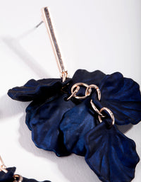 Rose Gold Pearlised Blue Petal Drop Earring - link has visual effect only