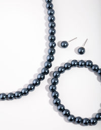 Silver Classic Navy Pearl Earrings, Bracelet and Necklace Set - link has visual effect only