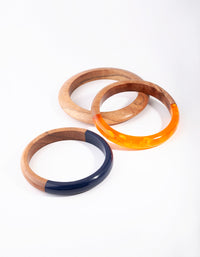 Wooden Spliced Bangle 3 Pack - link has visual effect only