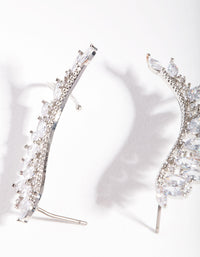 Rhodium Cubic Zirconia Marquise Crawler Earring - link has visual effect only
