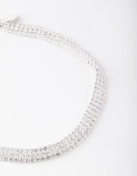 Silver Cubic Zirconia 3 Row Tennis Choker Necklace - link has visual effect only
