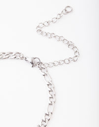 Rhodium Stainless Steel Figaro Bracelet - link has visual effect only