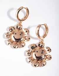 Gold Smiley Flower Drop Earring - link has visual effect only