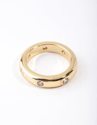 Real Gold Plated Mini Diamante Band Ring - link has visual effect only