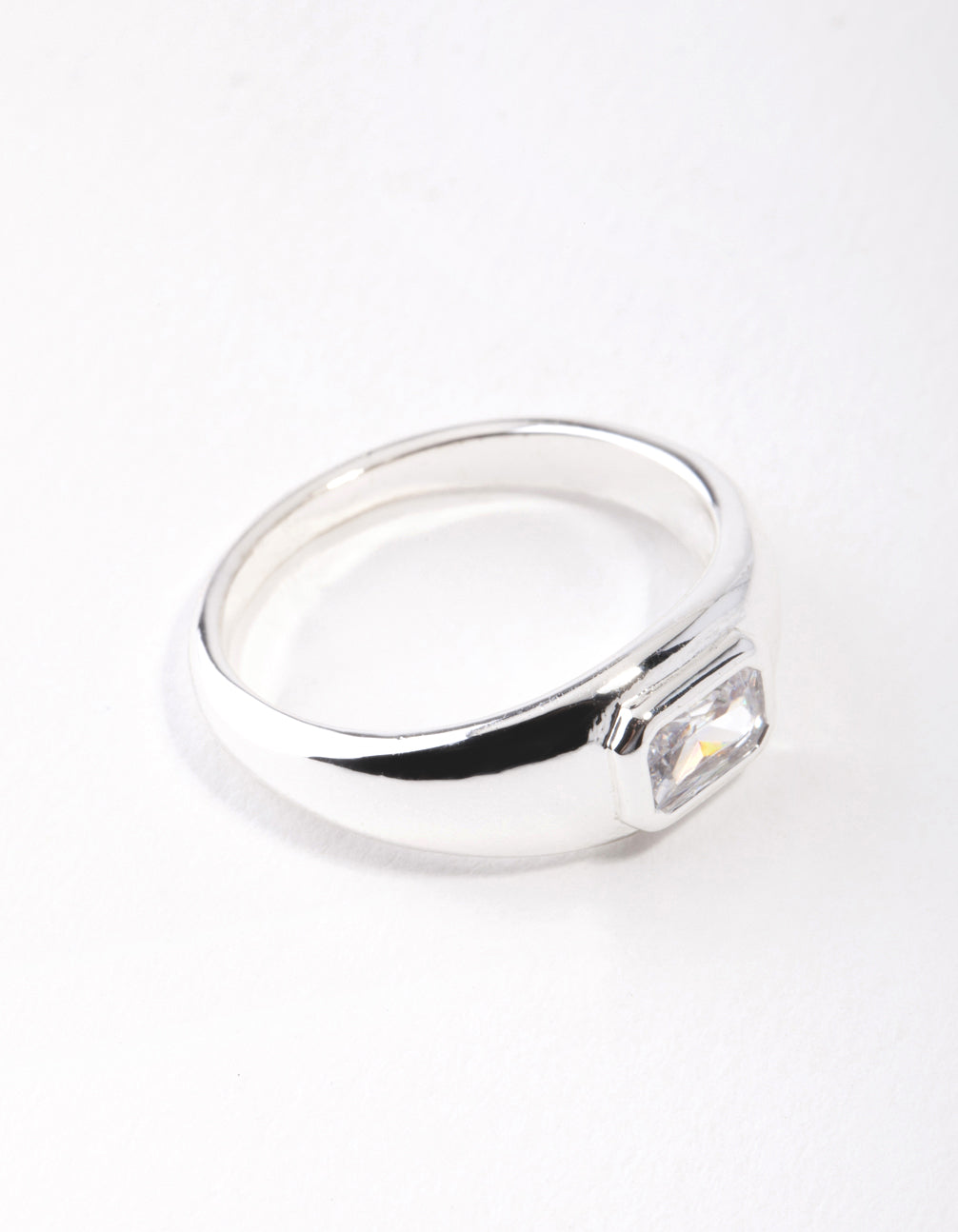 Real Silver Plated Oval Diamante Ring