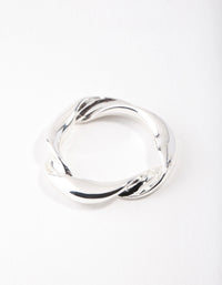 Real Silver Plated Twist Band Ring - link has visual effect only