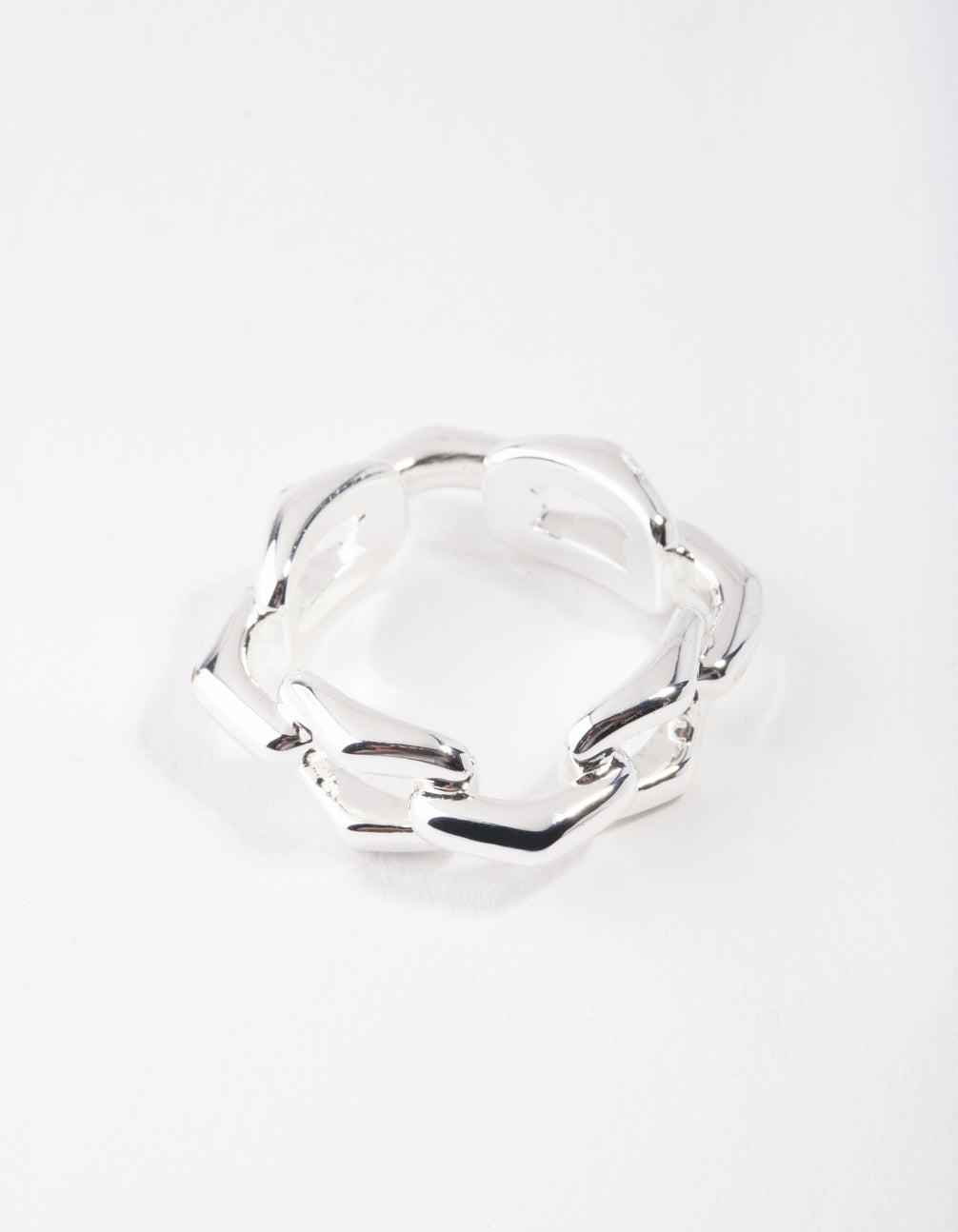 Real Silver Plated Rectangle Link Ring