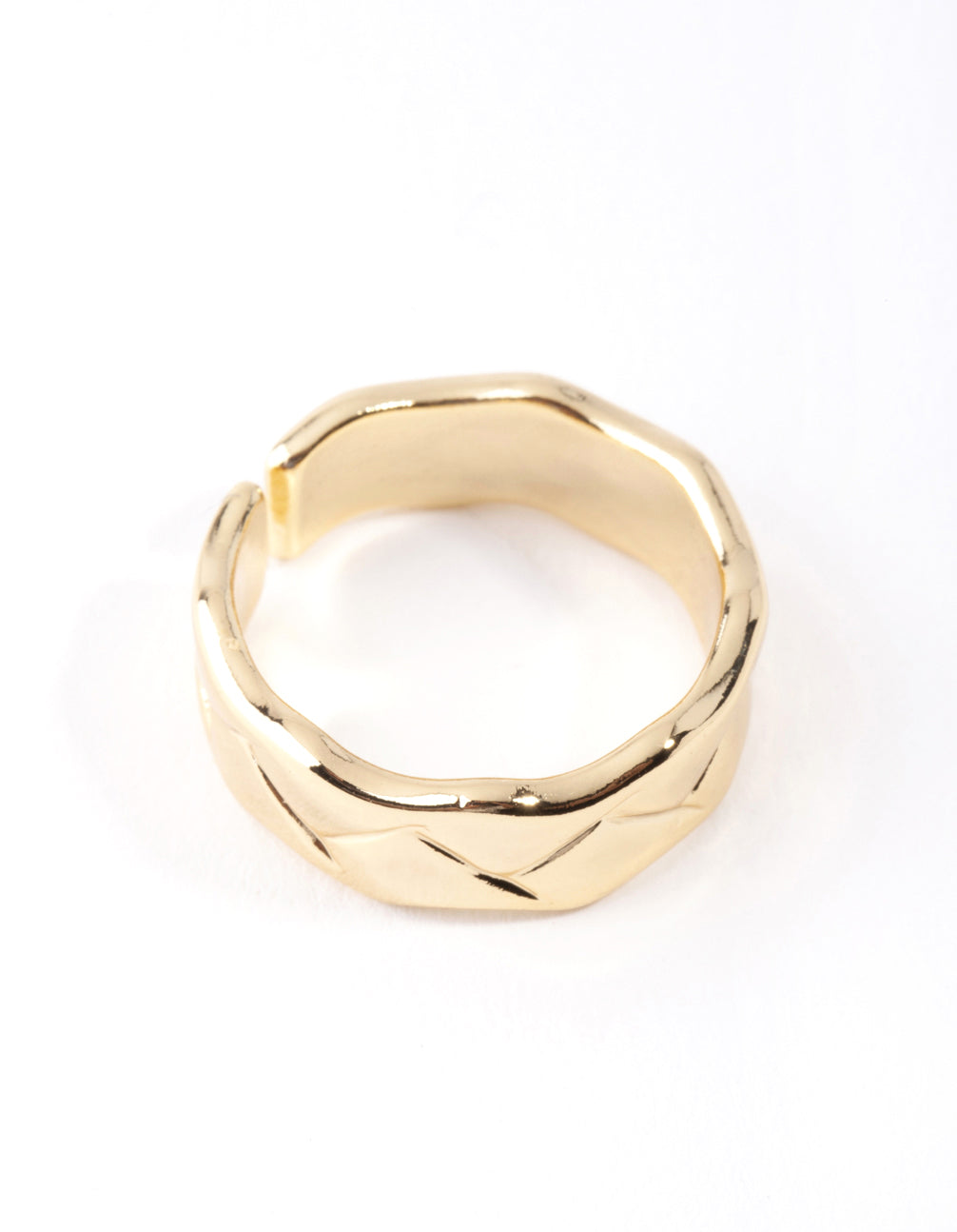 Real Gold Plated Geometric Molten Adjustable Ring