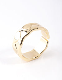 Real Gold Plated Geometric Molten Adjustable Ring - link has visual effect only