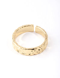 Real Gold Plated Molten Adjustable Ring - link has visual effect only