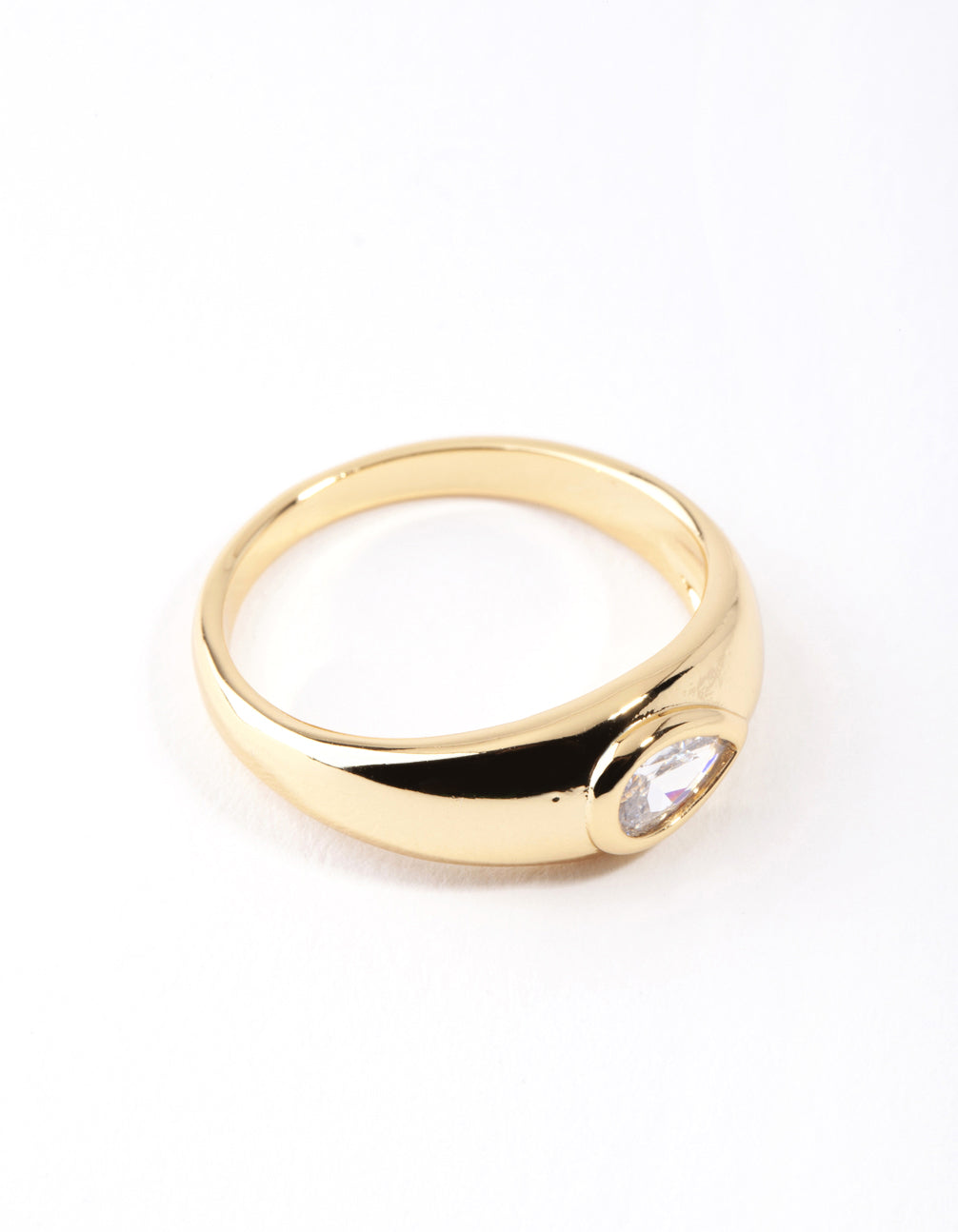 Real Gold Plated Oval Diamante Ring