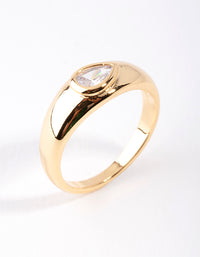 Real Gold Plated Oval Diamante Ring - link has visual effect only