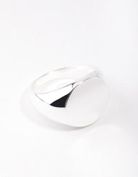 Real Silver Plated Plain Signet Ring - link has visual effect only