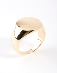 Real Gold Plated Plain Signet Ring - link has visual effect only