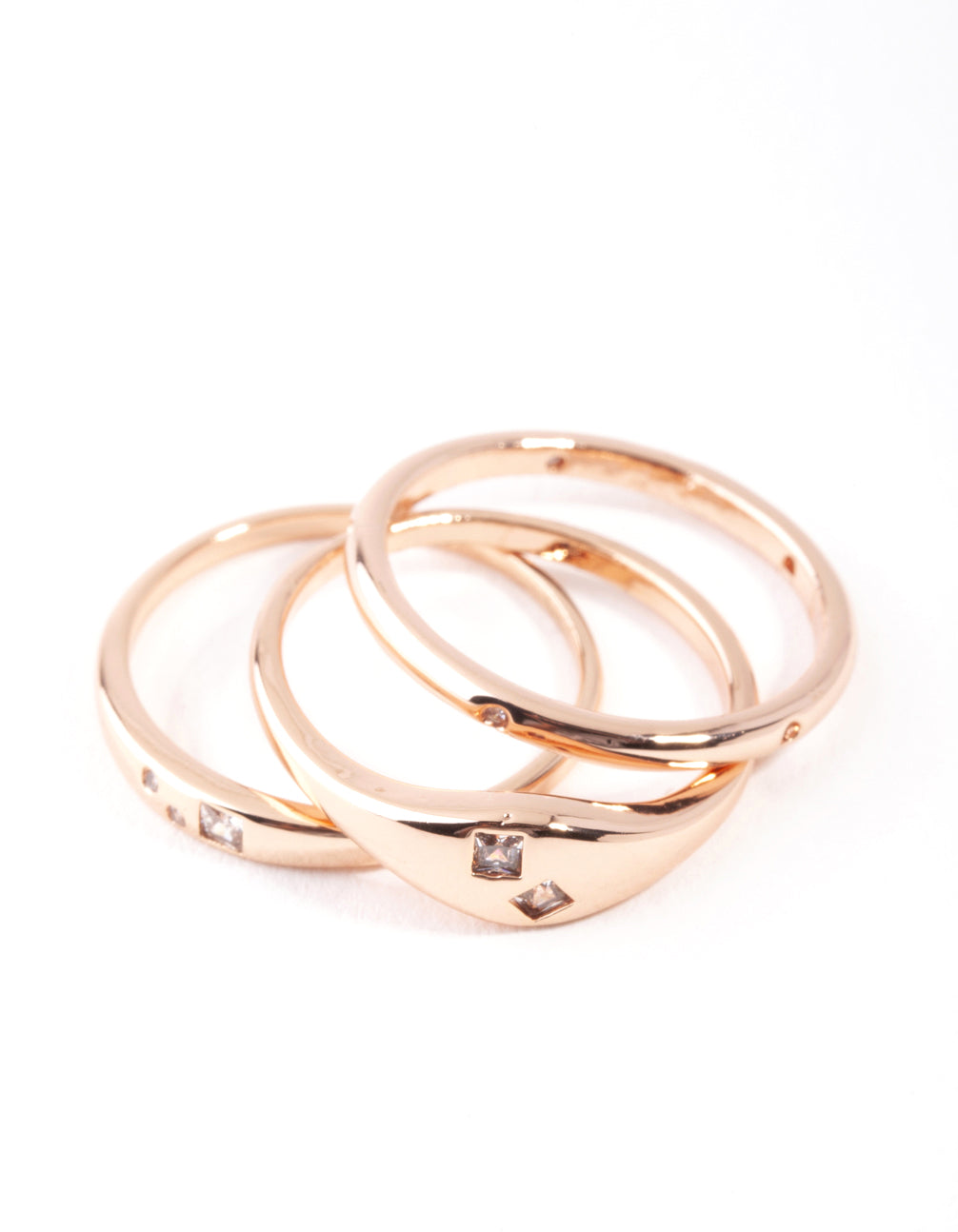 Real Rose Gold Plated Thin Band Diamante Ring 3 Pack