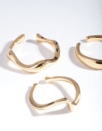 Real Gold Plated Molten Ring 3 Pack - link has visual effect only