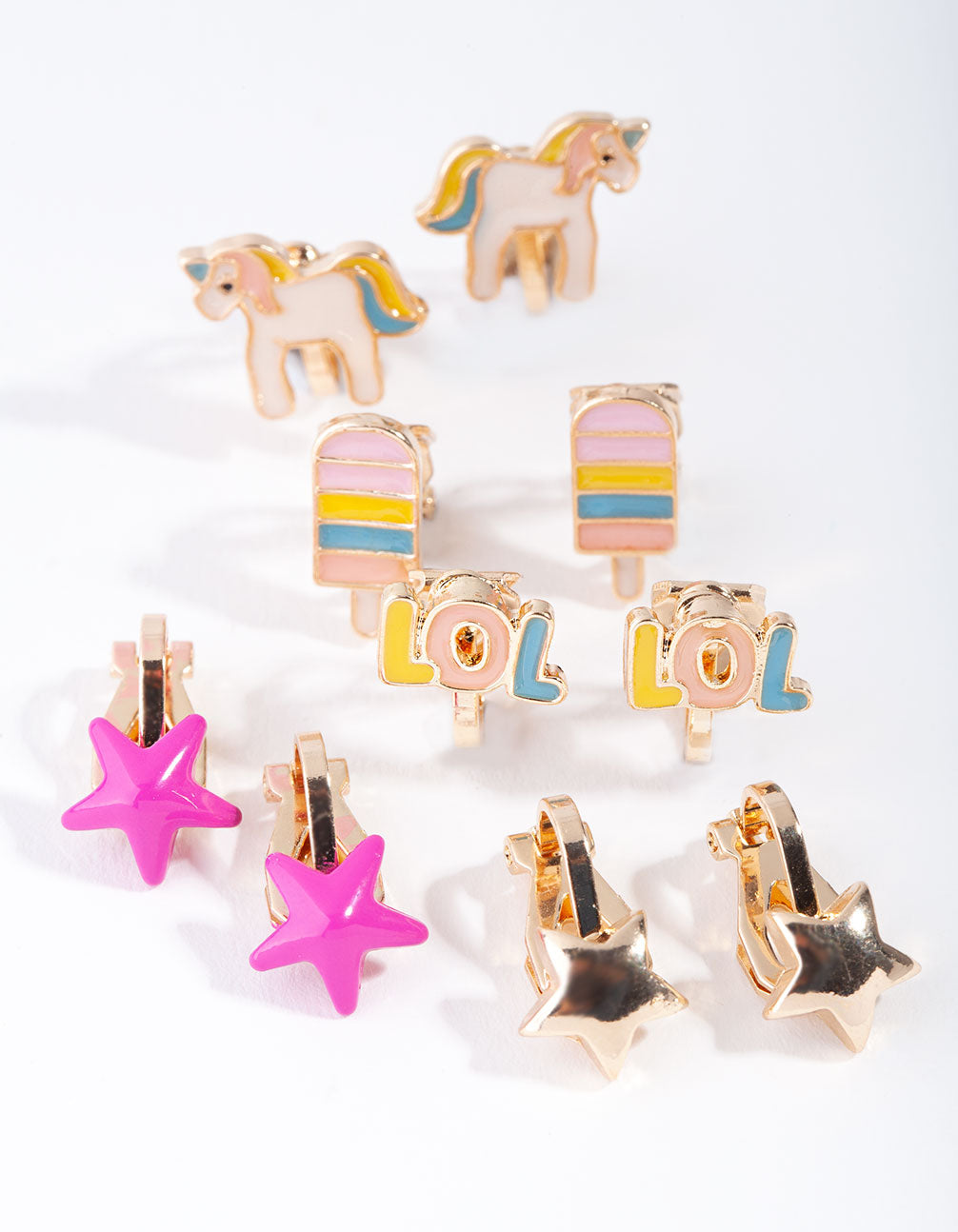 Gold Unicorn and LOL 5-Pack Clip Earring