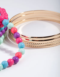 Gold Pearly Baby Mixed Wrist Bangle Pack - link has visual effect only