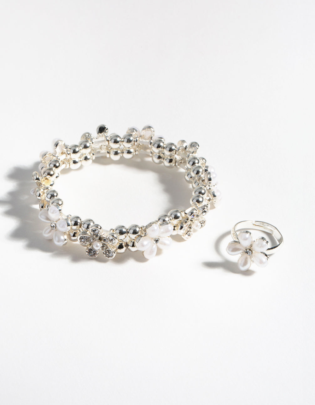 Silver Flower Bracelet and Ring Pack