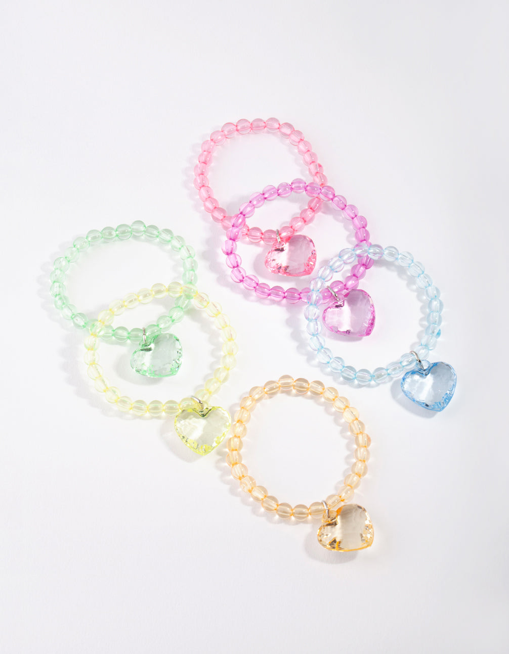 Kids Multi Coloured Bead Heart Bracelet 6 Pack