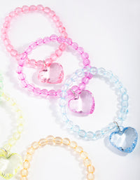 Kids Multi Coloured Bead Heart Bracelet 6 Pack - link has visual effect only