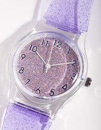 Silicon Buckle Glitter Transparent Watch - link has visual effect only