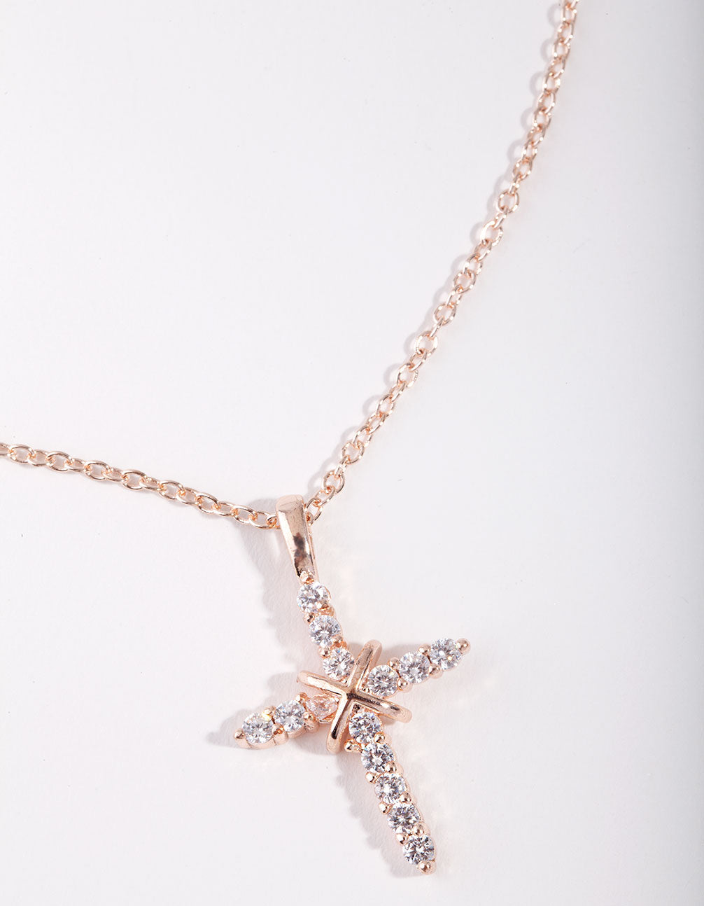 Rose Gold Cross and Diamante Necklace