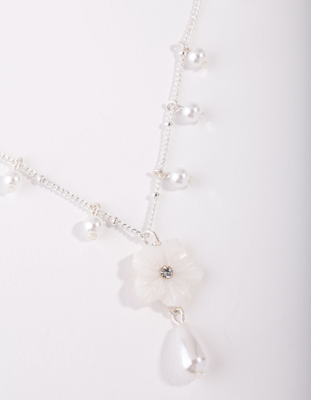 Silver Pearl Flower Chain Necklace