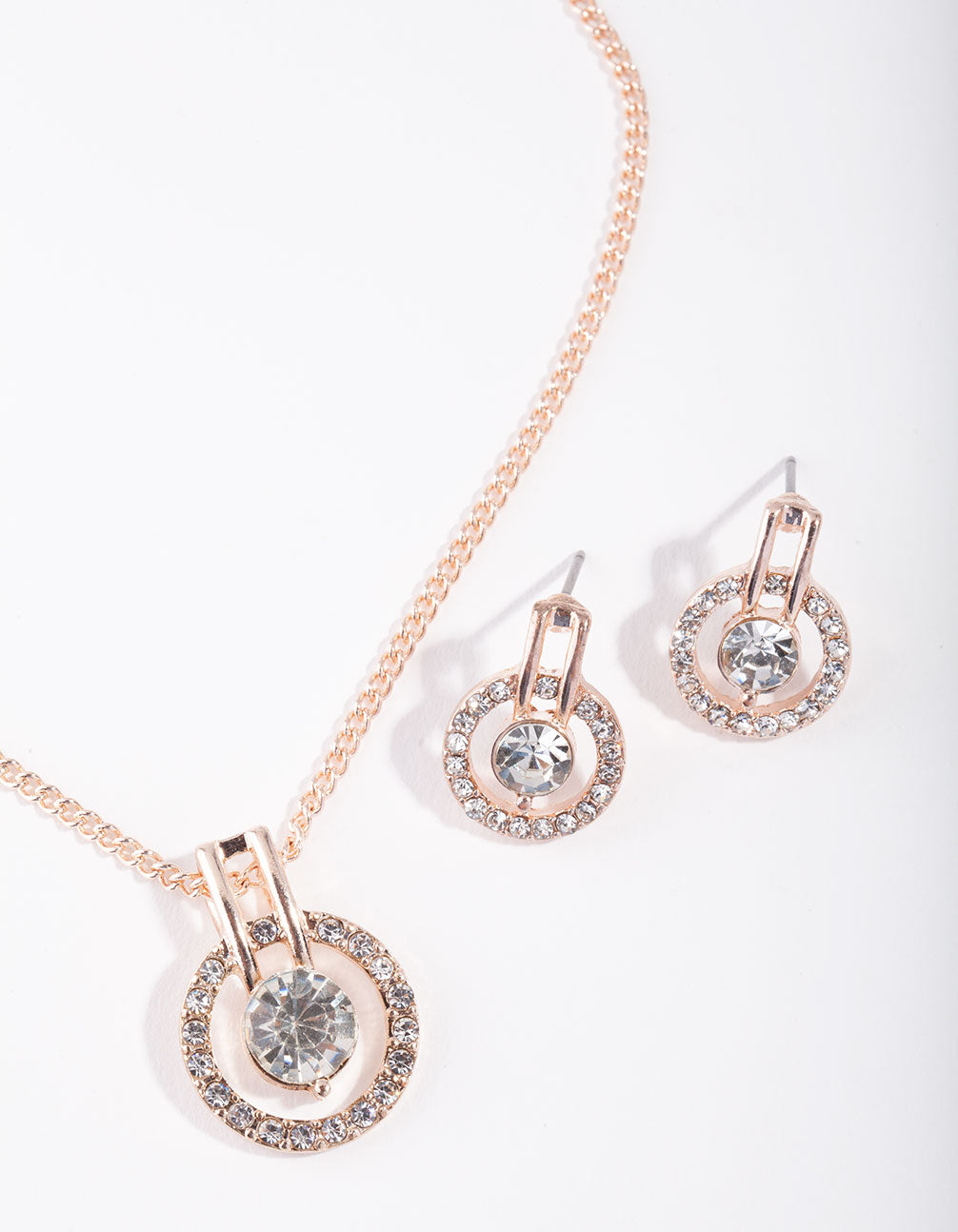 Rose Gold Circle Diamante Disc Necklace and Earrings Set