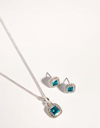 Silver Square Cut Diamante Necklace and Earrings - link has visual effect only