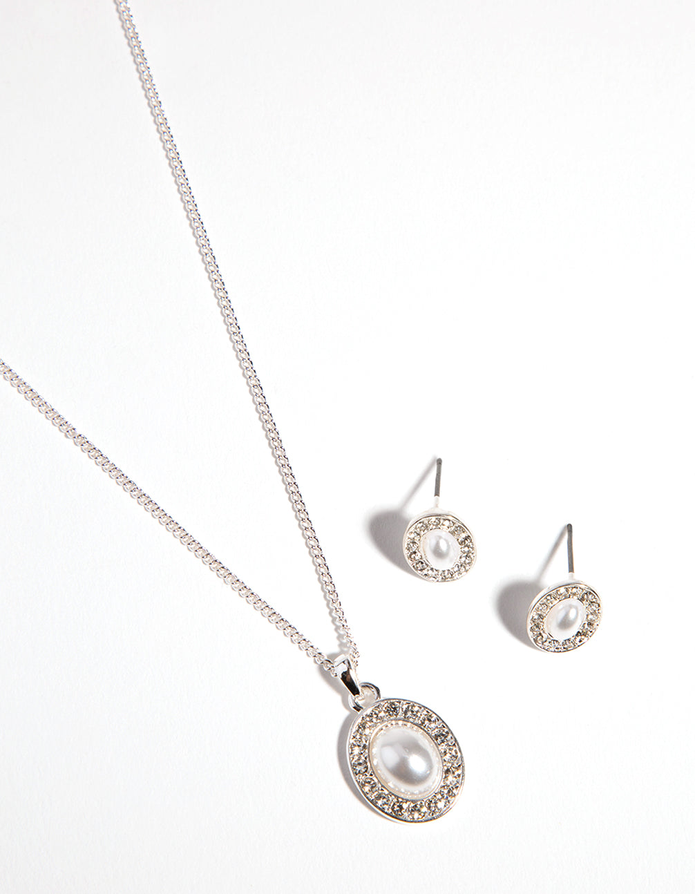 Silver Oval Pearl Diamante Necklace and Earrings Set