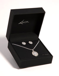 Silver Oval Pearl Diamante Necklace and Earrings Set - link has visual effect only