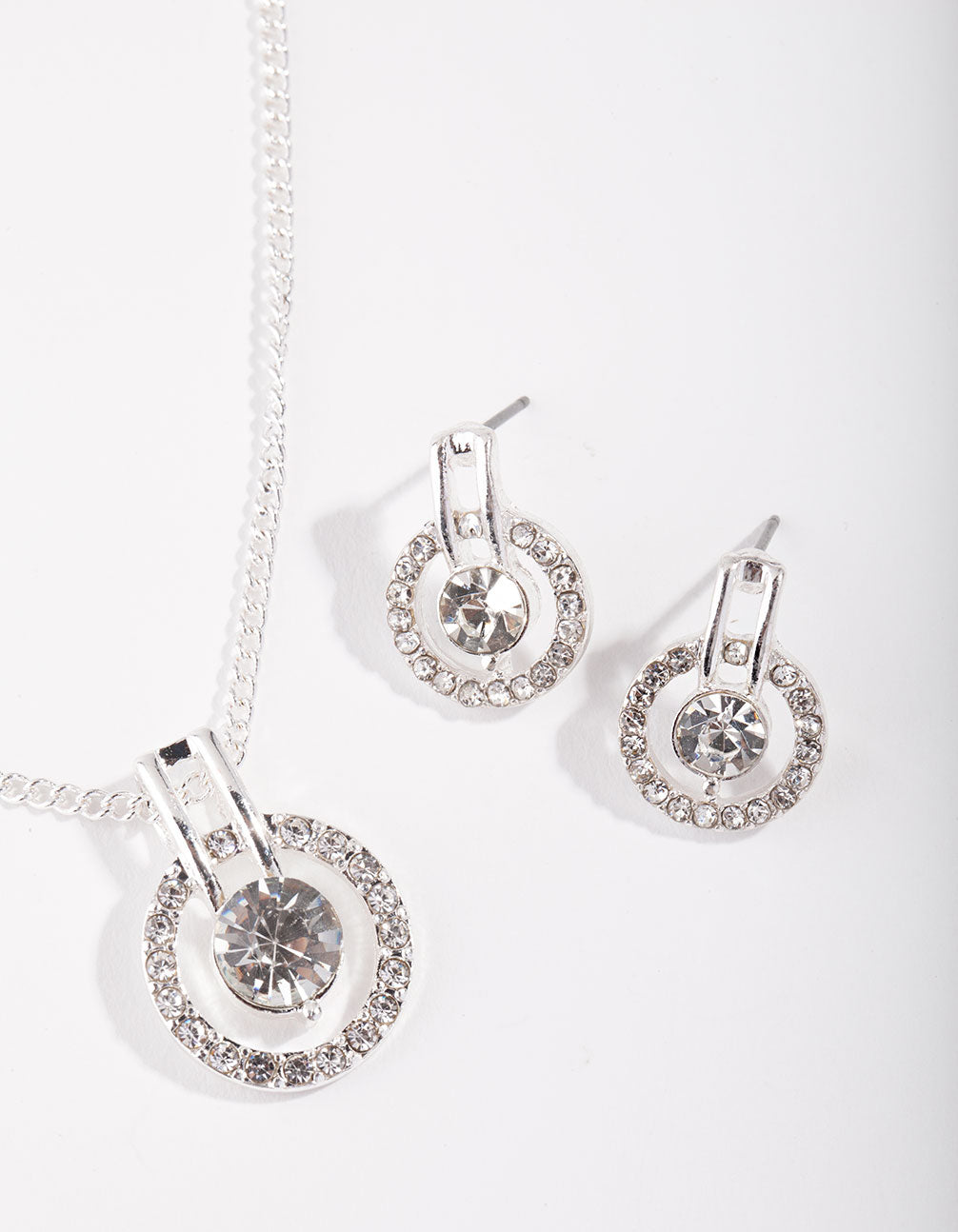 Silver Circle Diamante Disc Necklace and Earrings Set