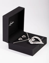 Silver Diamante Twist Heart Necklace Earrings - link has visual effect only