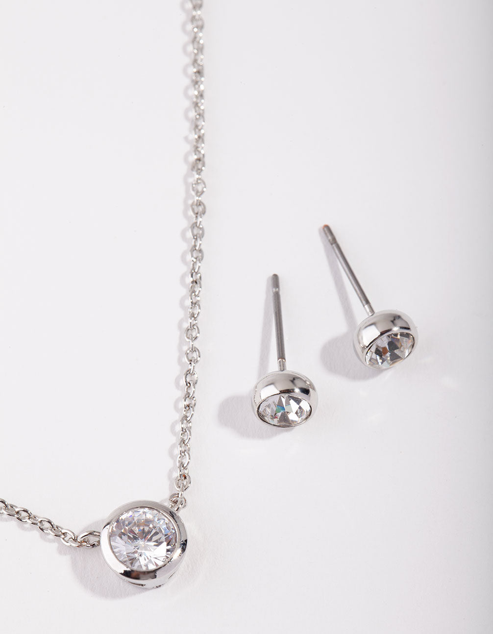Rhodium Circle Diamante Pendant Necklace and Earrings Set