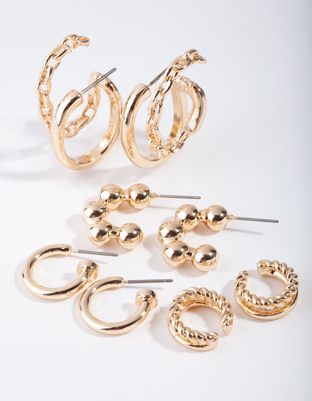 Gold Macro Ball and Chain 6-Pack Earring