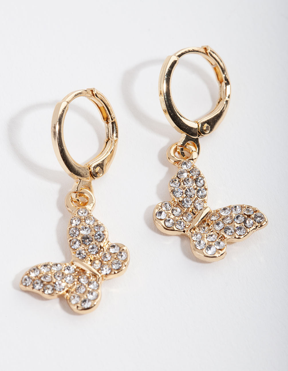 Gold Diamante Butterfly Huggie Earrings