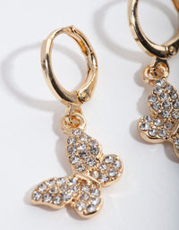 Gold Diamante Butterfly Huggie Earrings - link has visual effect only