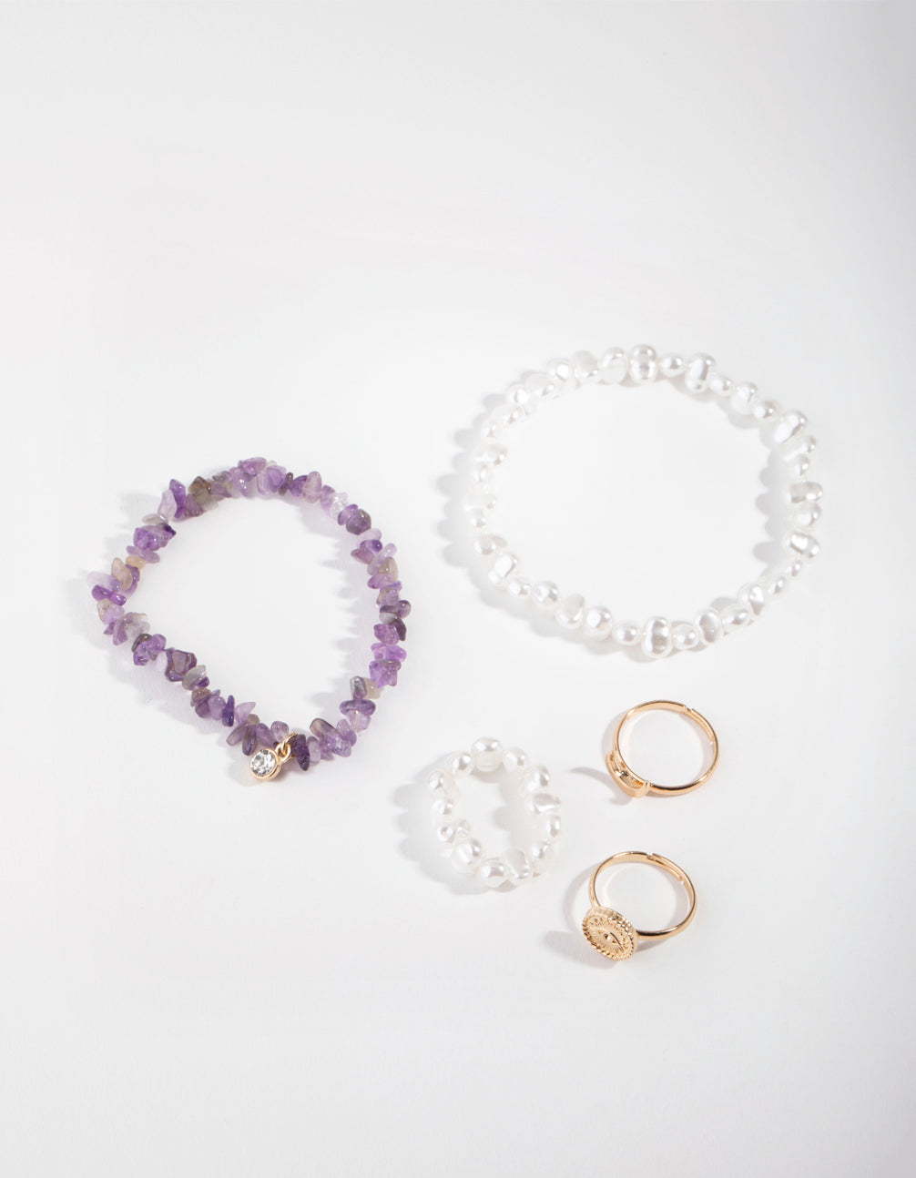 Gold Pearl Ring and Bracelet Pack