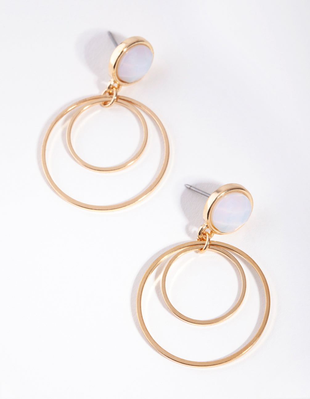 Gold Stone Double Drop Earrings