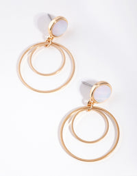 Gold Stone Double Drop Earrings - link has visual effect only