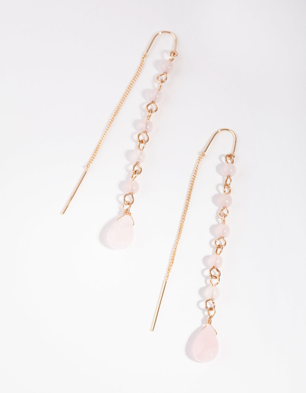 Gold Thread Through Station Drop Earrings