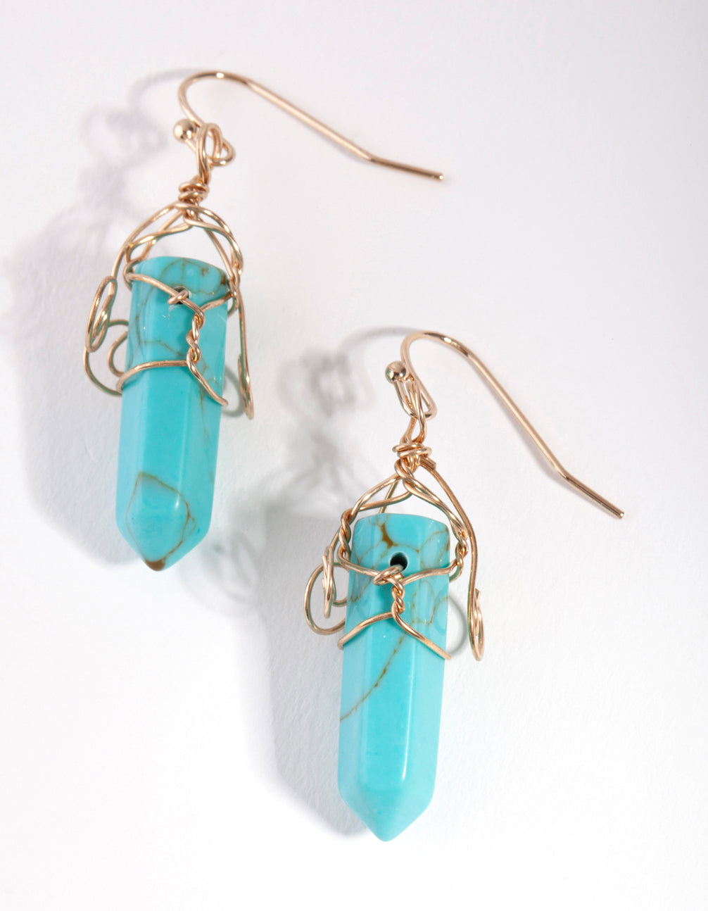 Gold Coil Wrap Turquoise Stone Drop Earrings