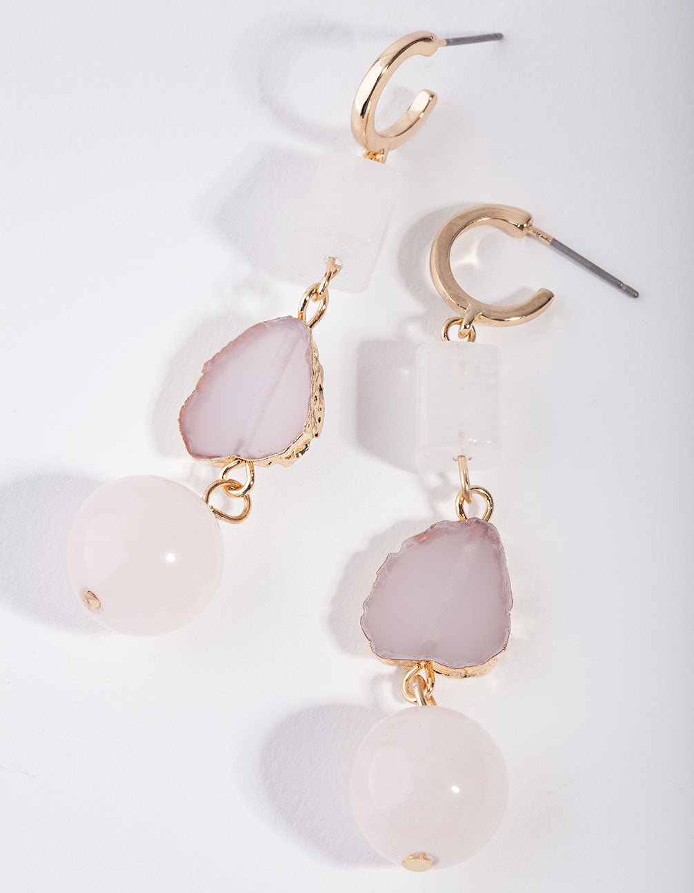 Gold Tripple Shape Drop Earrings