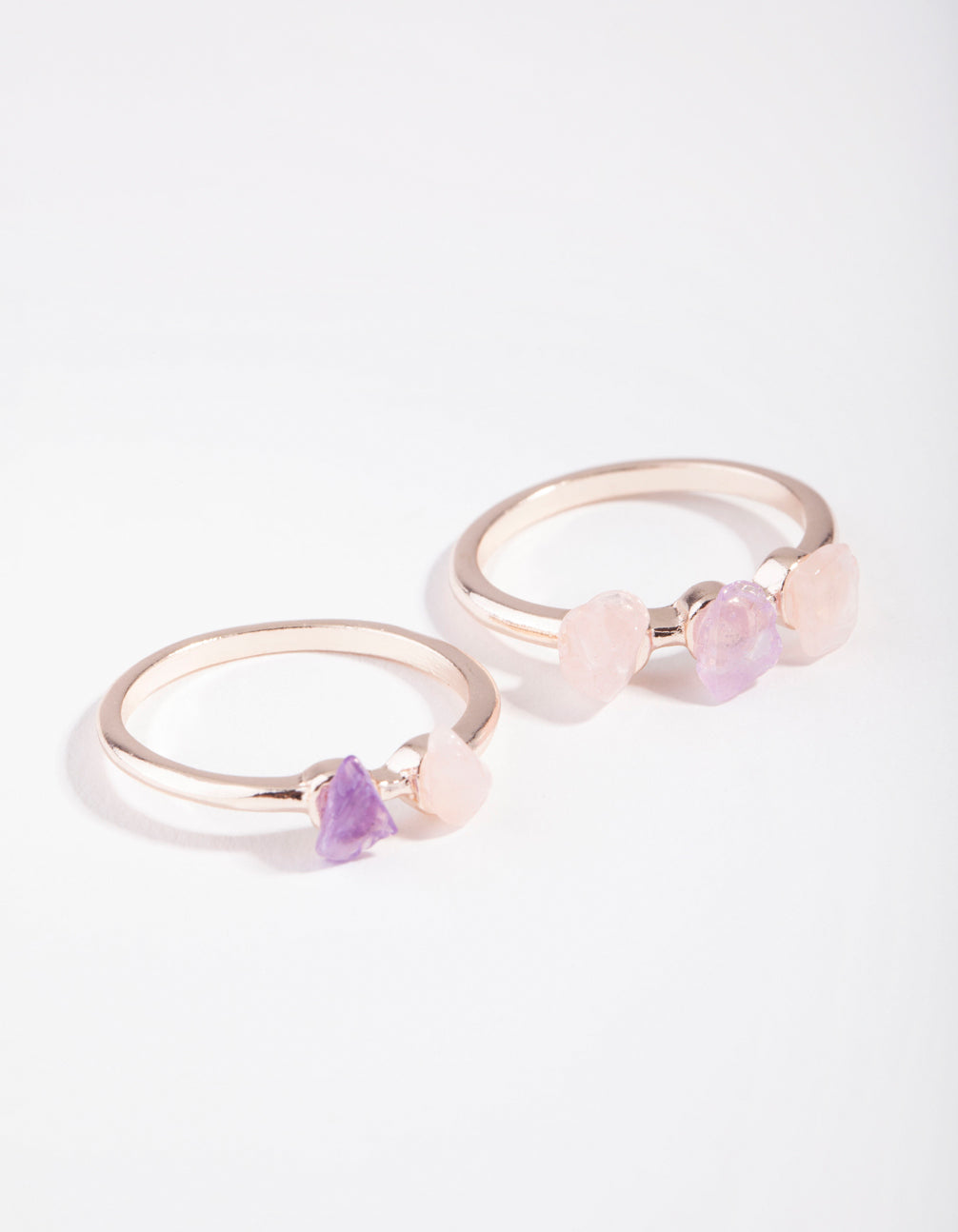 Rose Gold Multi Stone 2 Stack Pack
