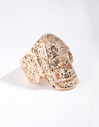 Gold Ornate Skull Ring - link has visual effect only