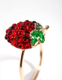 Gold Diamante Strawberry Ring - link has visual effect only